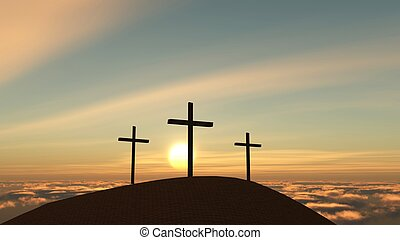 easter - three crosses on a hill, easter season