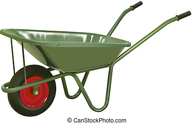 wheelbarrow 1 - vector realistic green wheelbarrow on white...