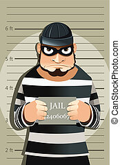 Criminal mug shot - A vector illustration of a criminal mug...