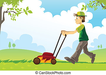 Mowing lawn - A vector illustration of a man mowing the lawn