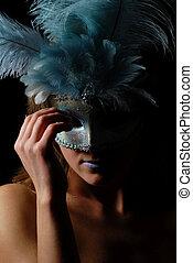 excitado, isolado, carnaval, máscara