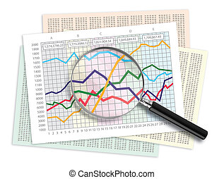 Data Analysis - Magnifying glass over a line graph chart