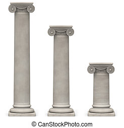 Ionic Columns on White - Three Ionic, stone columns of...