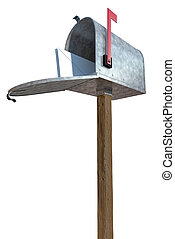 You've got mail - A standard galvanized mailbox on post,...