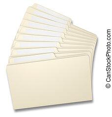 Fanned File Folders - Eight manila file folders fanned on a...