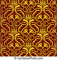 Red seamless wallpaper pattern - Seamless ornament. Simply...