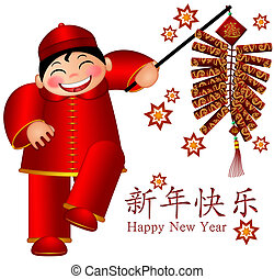 Chinese Boy Holding Firecrackers Text Wishing Happy New Year...