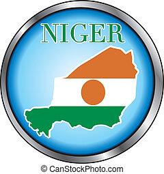 Niger Round Button - Vector Illustration for Niger, Round...