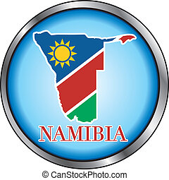 Namibia Round Button - Vector Illustration for Namibia,...