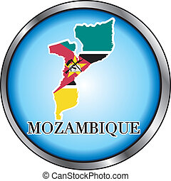 Mozambique Round Button - Vector Illustration for...