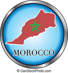 Morocco Round Button - Vector Illustration for Morocco,...