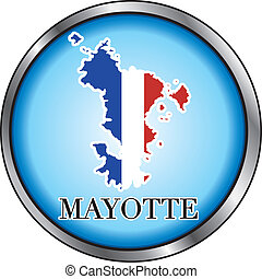 Mayotte Round Button - Vector Illustration for Mayotte,...
