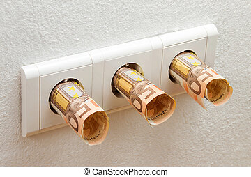 Euro banknotes in sockets - Three Euro banknotes in sockets