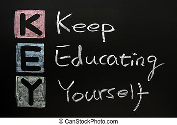 KEY acronym -Keep educating yourself on a blackboard with words written in chalk.
