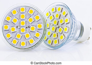 two LED GU10 bulbs with warm and cold light