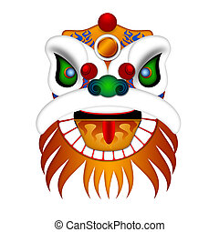 Chinese Lion Dance Head Illustration - Chinese Lion Dance...