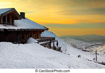 Ski Resort - Sunset high up in the mountains, winter...