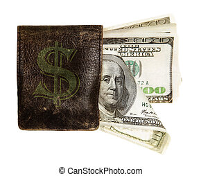 hundred dollar banknotes in the purse - hundred dollar...