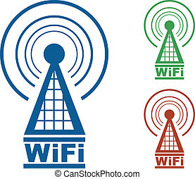 WiFi Tower  - WiFi tower with radio waves in three colors.
