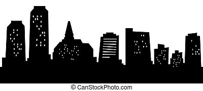 Cartoon Saskatoon - Cartoon skyline silhouette of Saskatoon,...