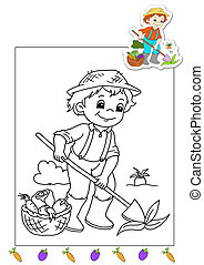 coloring book of the works - farmer