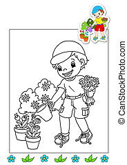 coloring book of the works - garden