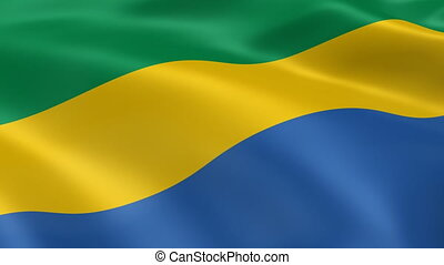Gabonese flag in the wind. Part of a series.