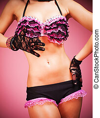 Pink lace and lingerie - Young female dancer wearing pink...