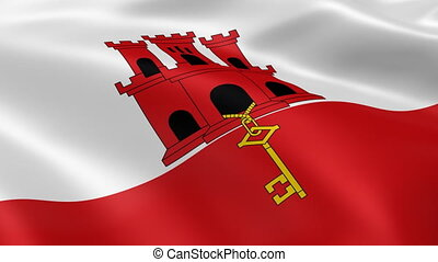 Gibraltar flag in the wind. Part of a series.