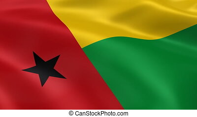 Bissau-Guinean flag in the wind. Part of a series.