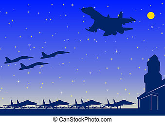 AFB - Night Landscape. Military aircraft on the airfield