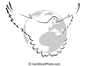 Dove of Peace - Flying Pigeon on the background of the...