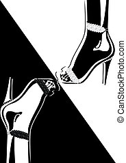High-heeled shoes adorned with diamonds. Black and white...