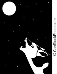 Lone Wolf - Wolf howling at the moon. Black and white...