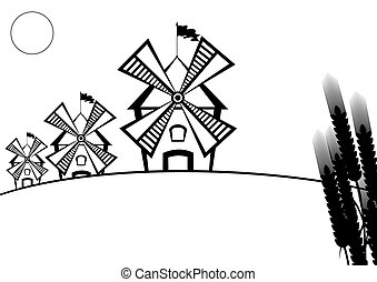 Mill - Windmills and ears of wheat. Black and white...