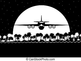 Night flight over the jungle - Night Landscape. The aircraft...