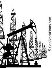 Oil pump and oil rigs - The oil industry. Oil rigs and oil...