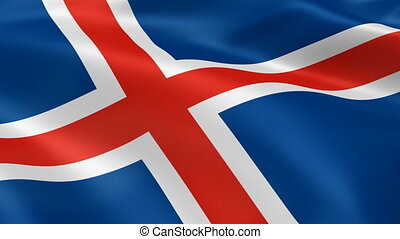 Iceland flag in the wind. Part of a series.