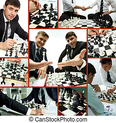 Business competition - Collage of successful businessmen...