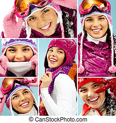 Winter fashion - Collage of beautiful young woman in winter...