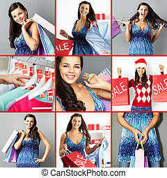 Good shopping - Collage of happy brunette with paperbags...
