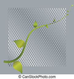 Vector illustration of green shoots and metal mesh