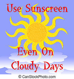 use sunscreen poster - bright golden sun behind white clouds...
