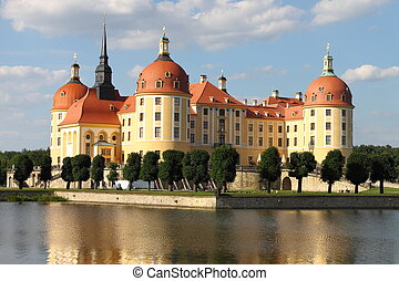 Moritzburg Castle - Landscape view of Moritzburg Castle in...