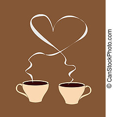 Hot coffee with heart-shaped steam - A cup of coffee that...