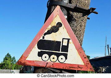 Road sign - train - Old road rusty sign - train