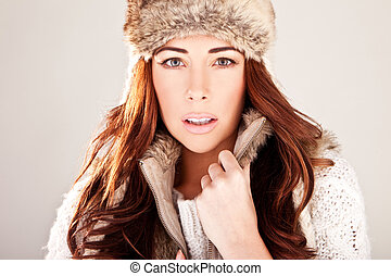 Gorgeous Redhead Fashion Model In Winter Fur