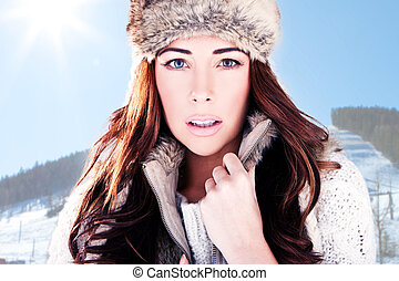 Winter Woman On Ski Slope