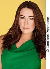 Beautiful Brunette In Green Dress Beautiful brunette with...