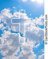 Religion - Silhouette of Cross on Blue Summer Sky With...